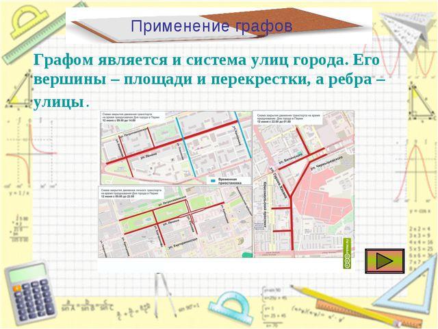 Применение графов Графом является и система улиц города. Его вершины – площад...