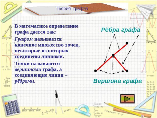 Теория графов В математике определение графа дается так: Графом называется ко...