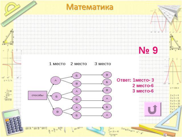 № 9 Ответ: 1место- 3 2 место-6 3 место-6