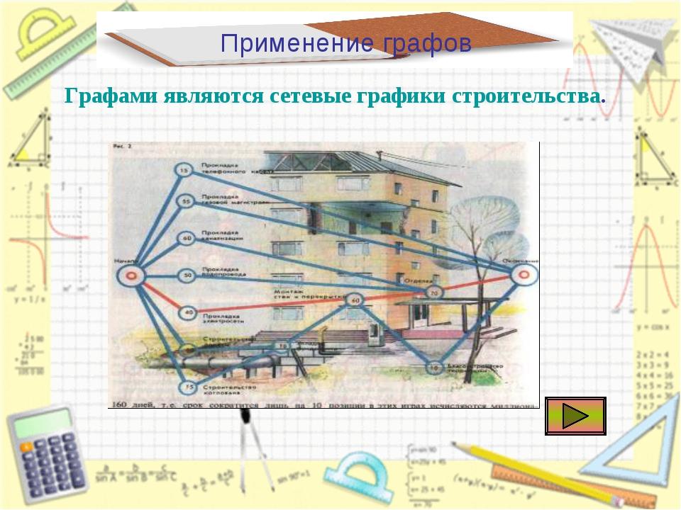 Применение графов Графами являются сетевые графики строительства.