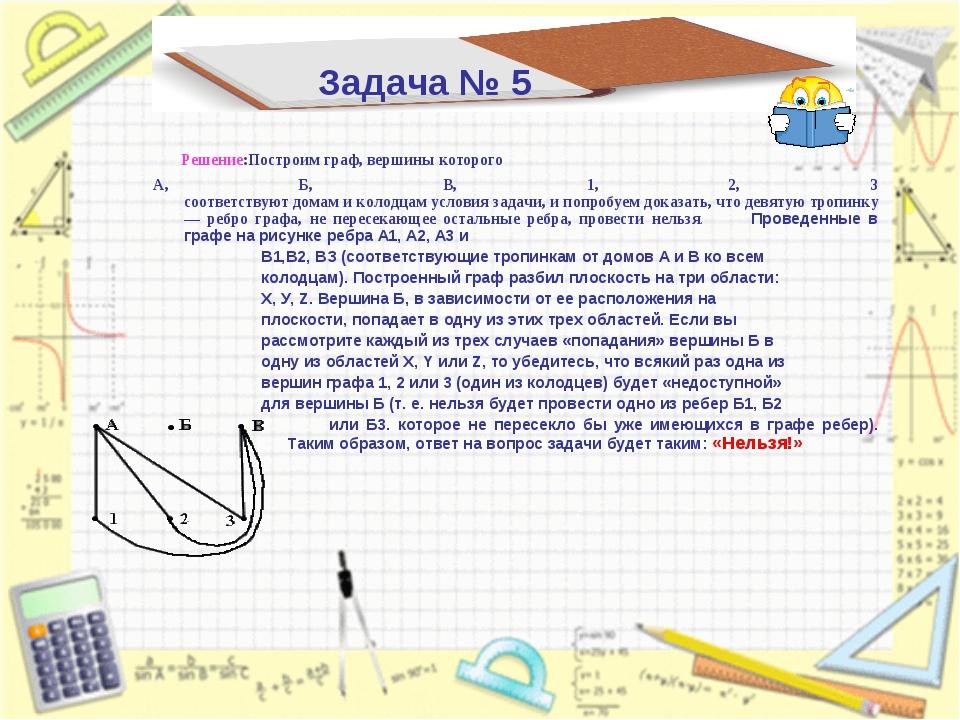 Задача № 5 Решение:Построим граф, вершины которого А, Б, В, 1, 2, 3 соответст...