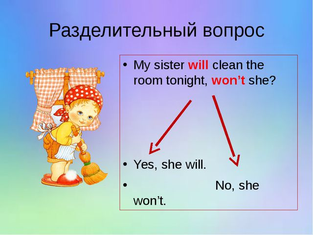 Разделительный вопрос My sister will clean the room tonight, won't she? Yes,...
