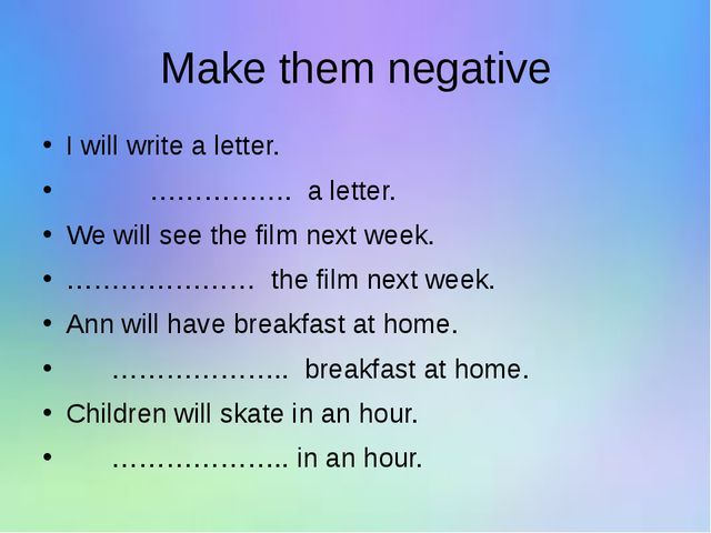 Make them negative I will write a letter. ……………. a letter. We will see the fi...