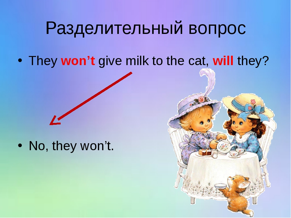 Разделительный вопрос They won't give milk to the cat, will they? No, they wo...