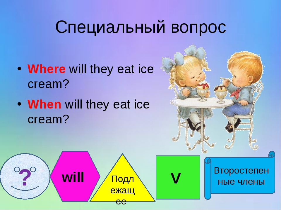 Специальный вопрос Where will they eat ice cream? When will they eat ice crea...