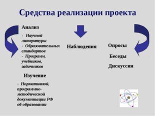 Средства реализации проекта Анализ - Научной литературы - Образовательных ста