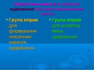 Підсистема вправ для навчання аудіювання культурно-країнознавчих текстів Груп