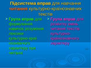Підсистема вправ для навчання читання культурно-країнознавчих текстів Група в