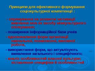 Принципи для ефективного формування соціокультурної компетенції : - спрямуван