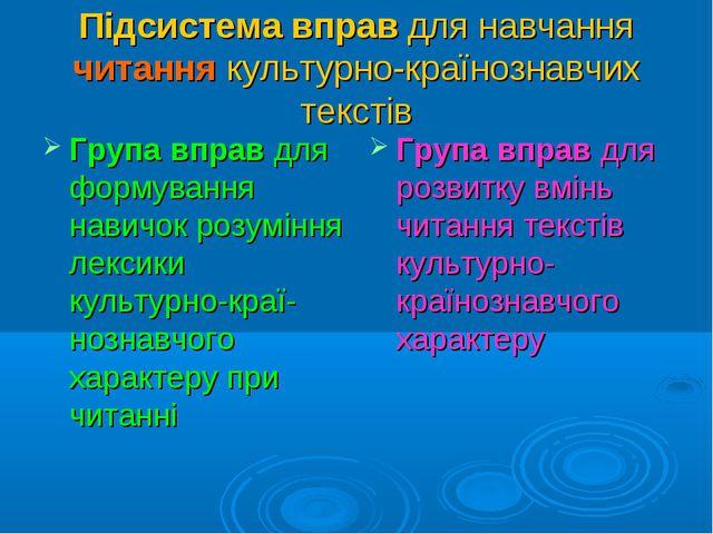 Підсистема вправ для навчання читання культурно-країнознавчих текстів Група в...