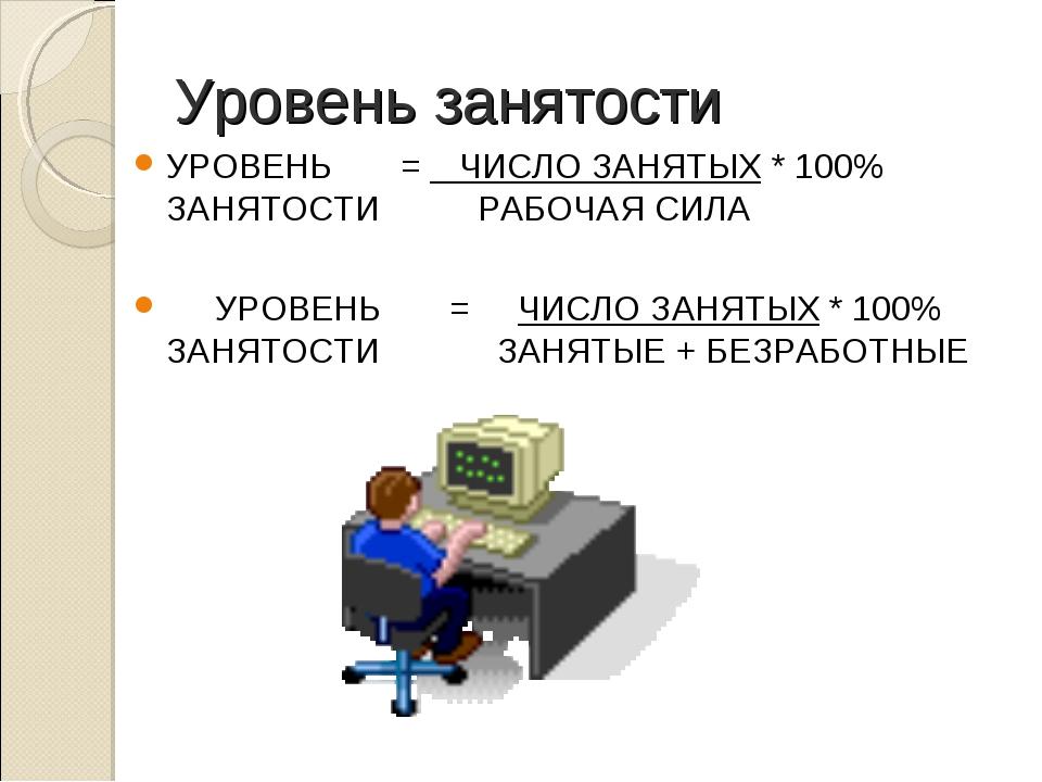 Уровень занятости УРОВЕНЬ =  ЧИСЛО ЗАНЯТЫХ * 100% ЗАНЯТОСТИ...