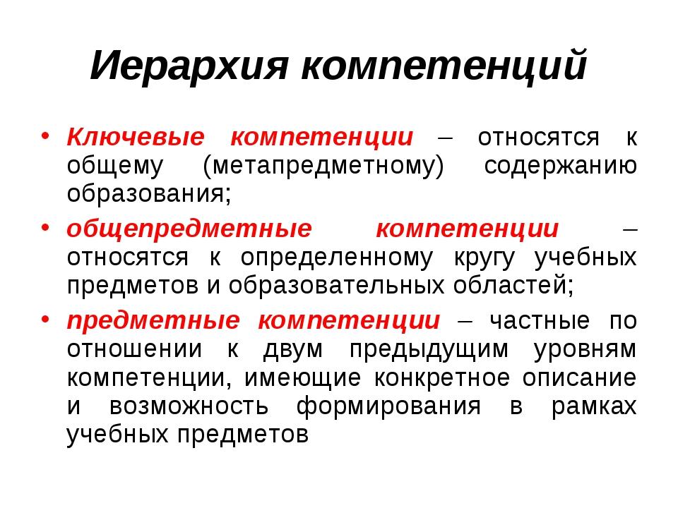 Иерархия компетенций Ключевые компетенции – относятся к общему (метапредметно...