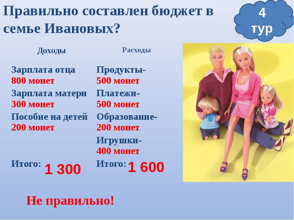 Правильно составлен бюджет в семье Ивановых? 1 300 1 600 4 тур Не правильно!...