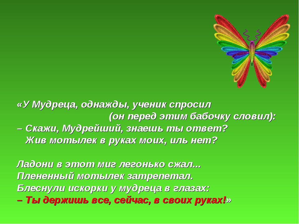 «У Мудреца, однажды, ученик спросил (он перед этим бабочку словил): – Скажи,...