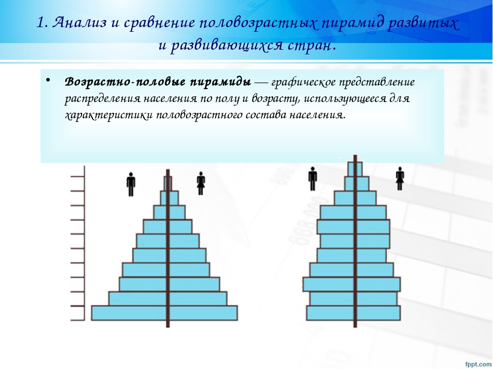1. Анализ и сравнение половозрастных пирамид развитых и развивающихся стран....