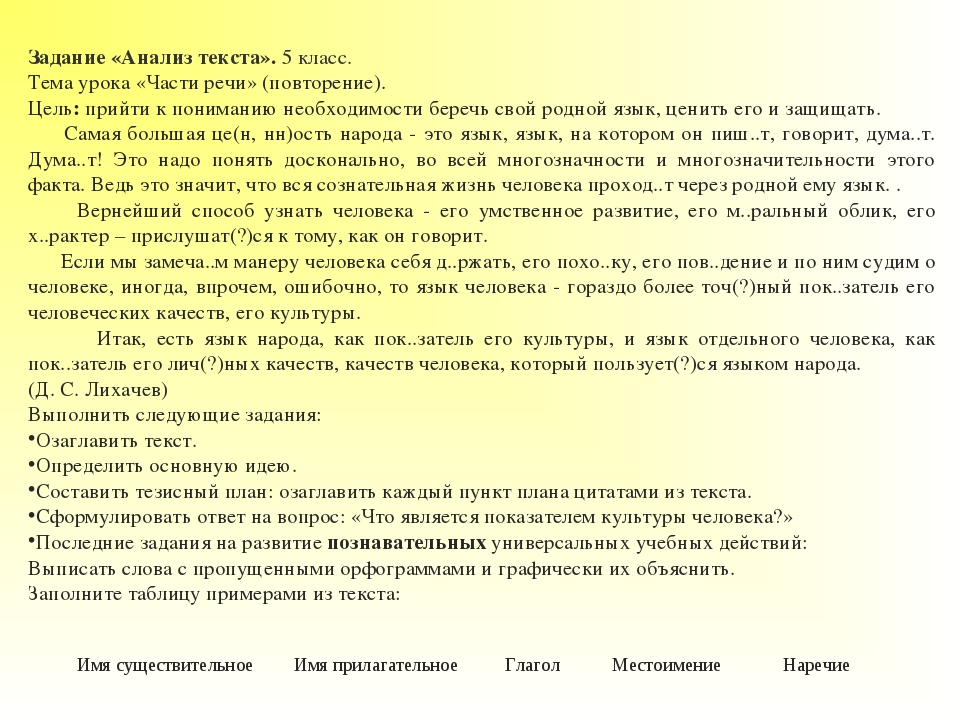 Задание «Анализ текста».5 класс. Тема урока «Части речи» (повторение). Цель:...