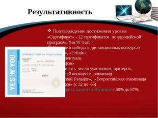 Результативность Подтверждение достижения уровня «Сертификат» - 12 сертификат