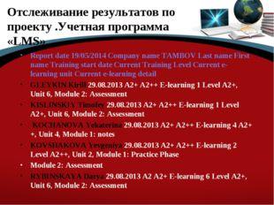 Отслеживание результатов по проекту .Учетная программа «LMS» Report date 19/0