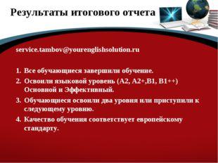 Результаты итогового отчета service.tambov@yourenglishsolution.ru Все обучающ