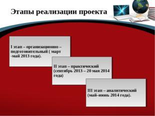 Этапы реализации проекта I этап – организационно – подготовительный ( март -м