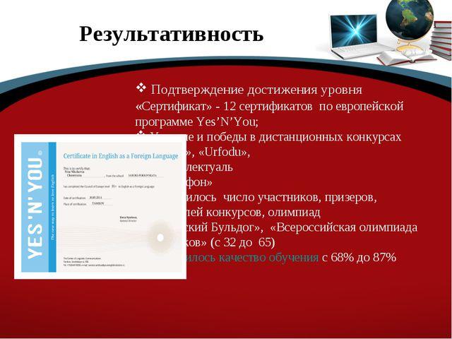 Результативность Подтверждение достижения уровня «Сертификат» - 12 сертификат...