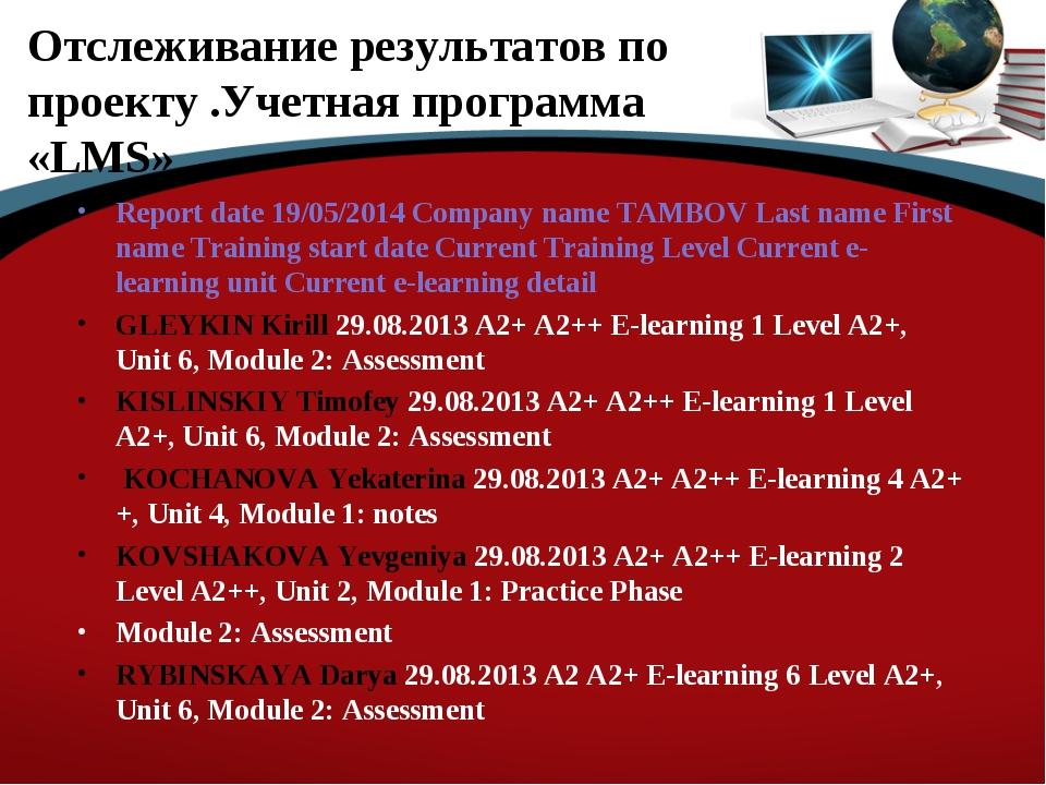 Отслеживание результатов по проекту .Учетная программа «LMS» Report date 19/0...