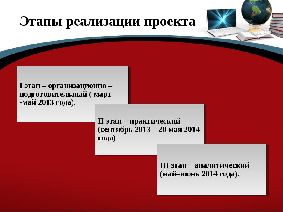 Этапы реализации проекта I этап – организационно – подготовительный ( март -м...