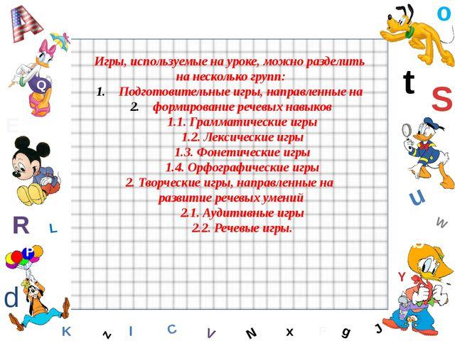 W C S b d E Y g H J K M L F o P Q t u R z l V x N Игры, используемые на уроке...