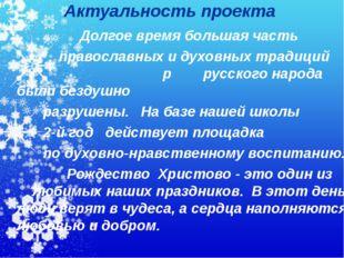 Актуальность проекта Долгое время большая часть православных и духовных тради