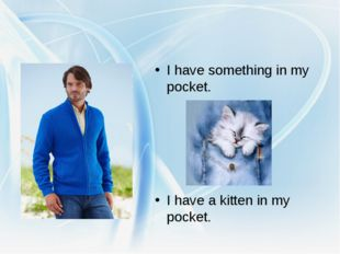 I have something in my pocket. I have a kitten in my pocket.