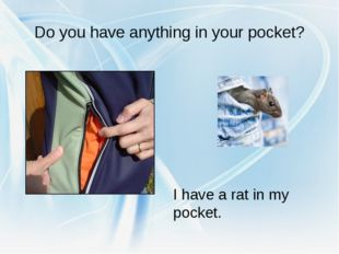 Do you have anything in your pocket? I have a rat in my pocket.