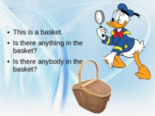 This is a basket. Is there anything in the basket? Is there anybody in the b