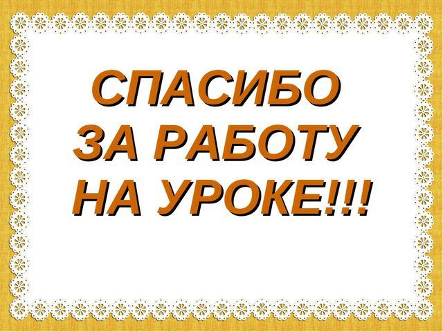 СПАСИБО ЗА РАБОТУ НА УРОКЕ!!!