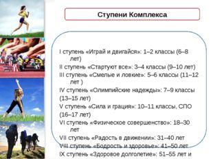 Ступени Комплекса I ступень «Играй и двигайся»: 1–2 классы (6–8 лет) II ступе