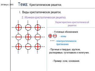 * Тема: Кристаллические решетки. I. Виды кристаллических решеток. 2. Ионная к
