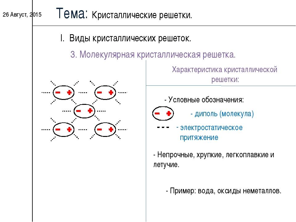 * Тема: Кристаллические решетки. I. Виды кристаллических решеток. 3. Молекуля...