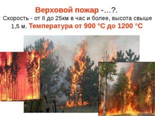 Верховой пожар -…?. Скорость - от 8 до 25км в час и более, высота свыше 1,5 м