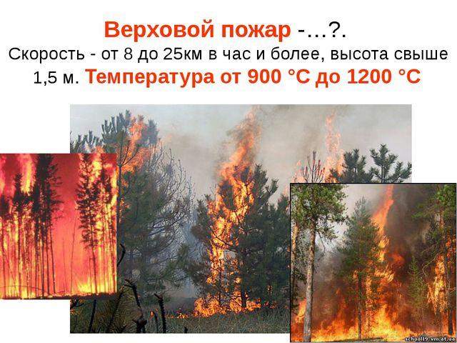 Верховой пожар -…?. Скорость - от 8 до 25км в час и более, высота свыше 1,5 м...