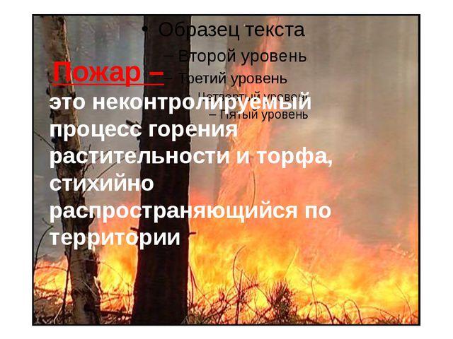 Пожар – это неконтролируемый процесс горения растительности и торфа, стихий...