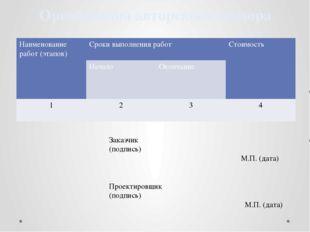 Организация авторского надзора Заказчик (подпись) М.П. (дата) Проектировщик (