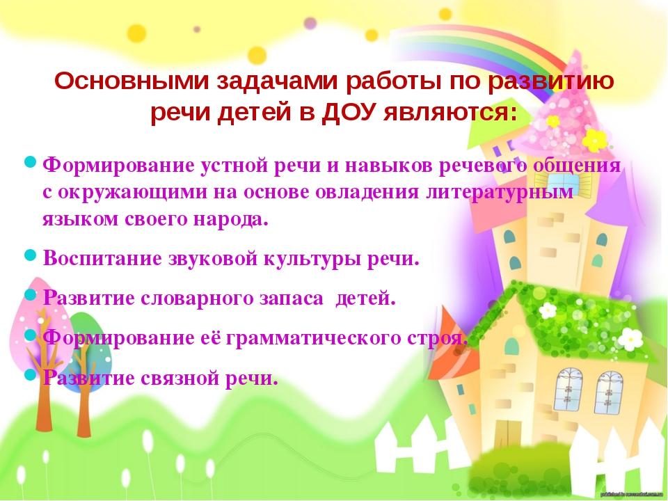 Основными задачами работы по развитию речи детей в ДОУ являются: Формирование...