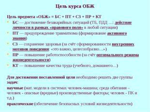 Цель курса ОБЖ Цель предмета «ОБЖ» = БС + ПТ + СЗ + ПР + КТ БС — достижение б