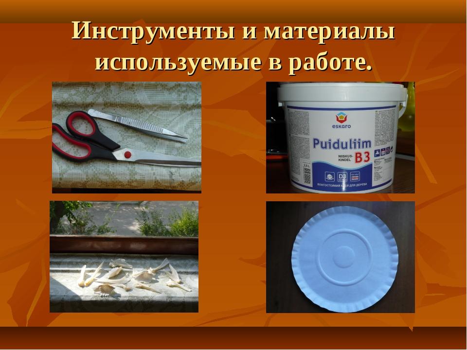 Инструменты и материалы используемые в работе.