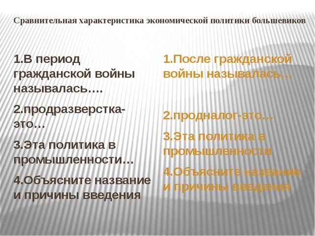Сравнительная характеристика экономической политики большевиков 1.В период гр...