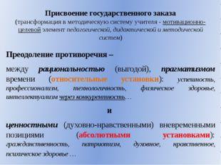 Присвоение государственного заказа (трансформация в методическую систему учит