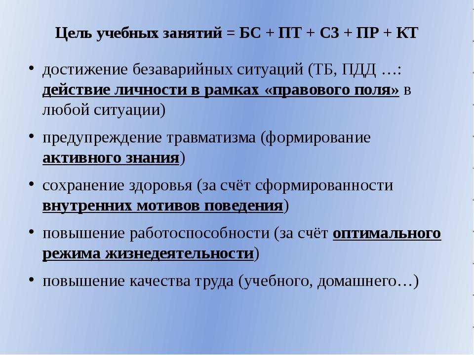 Цель учебных занятий = БС + ПТ + СЗ + ПР + КТ достижение безаварийных ситуаци...