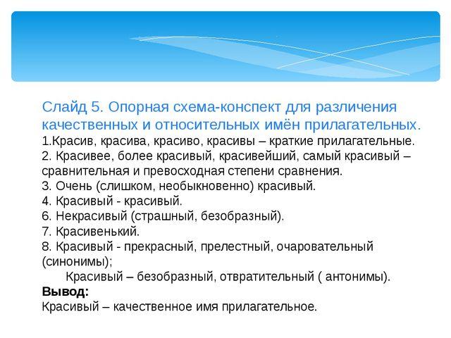 Слайд 5. Опорная схема-конспект для различения качественных и относительных и...