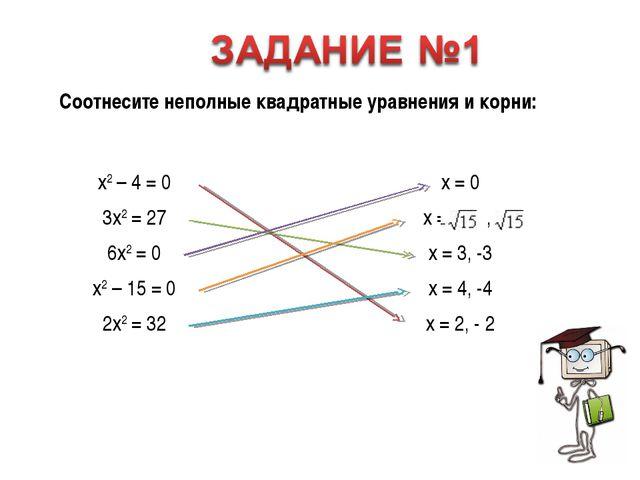 Соотнесите простейшие квадратные уравнения и ответы.  Соотнесите неполные...