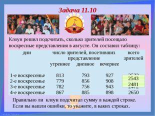 Клоун решил подсчитать, сколько зрителей посещало воскресные представления в