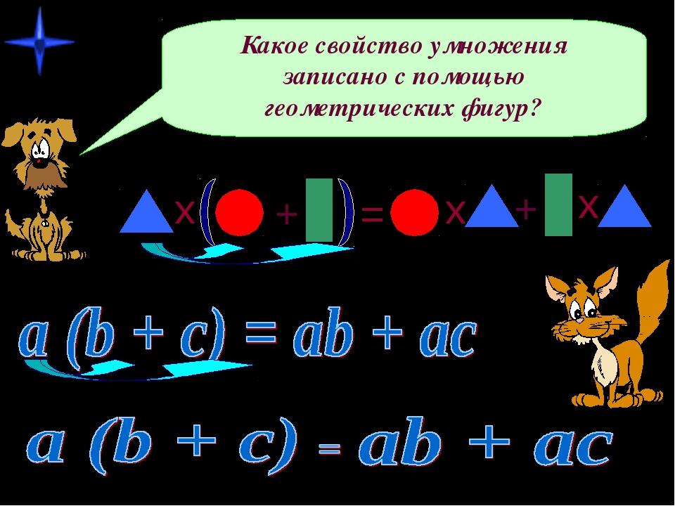 Какое свойство умножения записано с помощью геометрических фигур? х = + + х х